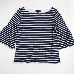 Banana Republic Striped Bell Sleeve Boat Neck Top